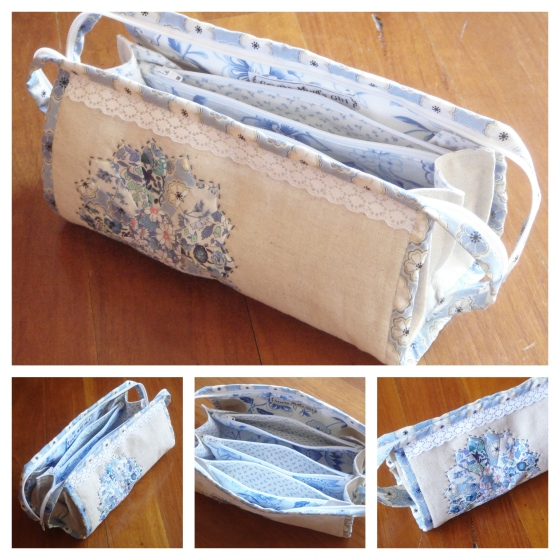 Sew together bag decorated with an Liberty Dresden plate and lace