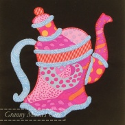 Quirky teapot quilt block