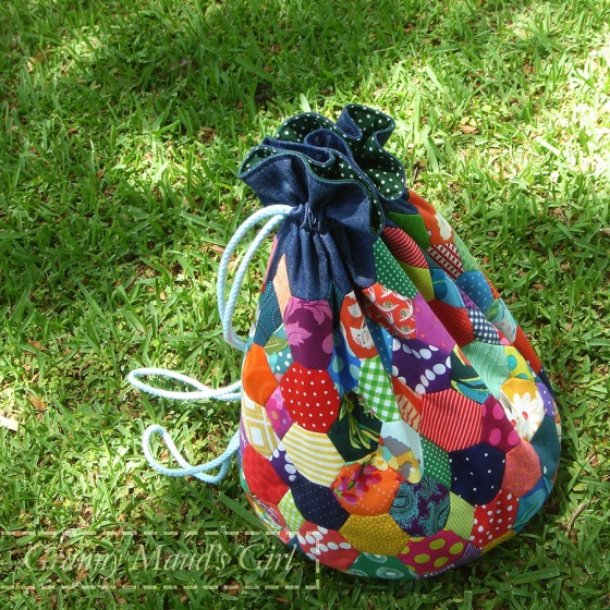 English paper pieced drawstring bag