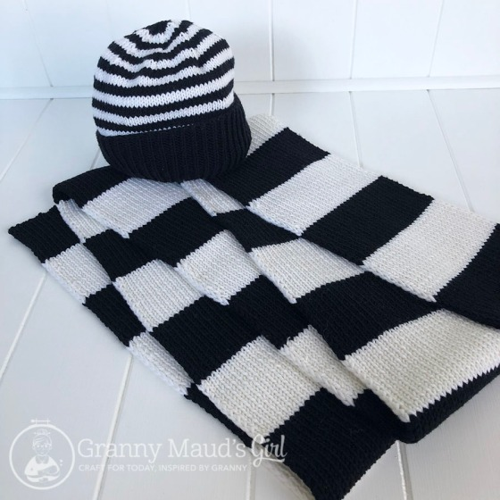 Hand-knitted football beanie and scarf