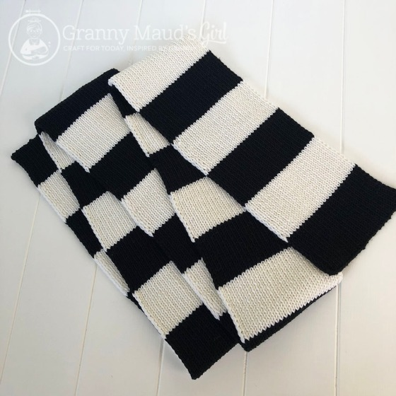 Hand-knitted football scarf